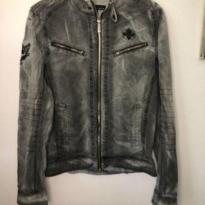 Affliction zip moto jacket acid wash